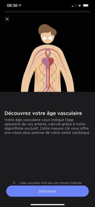 Calcul de votre Age vasculaire dans l'app Health Mate