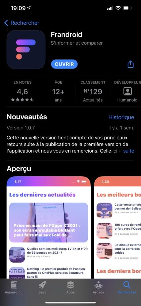 Plus d'un million d'apps ont été supprimées ou rejetées de l'App Store, mais pas Frandroid // Source : Appl