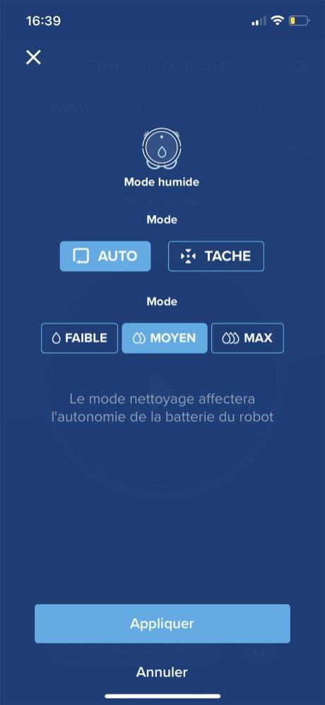 L'app propose deux modes de nettoyage et trois niveaux de puissance d'aspiration // Source : Frandroid / Yazid Amer