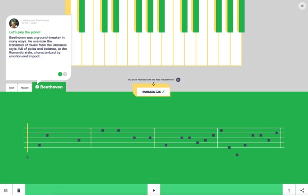 Assisted Melody selon Beethoven // Source : Google Arts & Culture