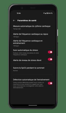 OnePlus Health - Paramètres santé