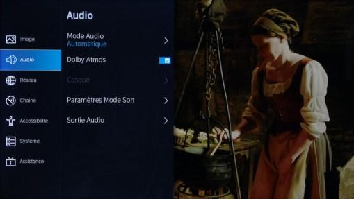 Les options du menu Audio.