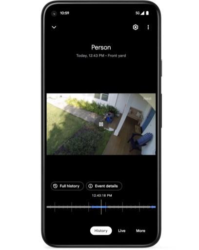 L'app Google Home permet de consulter le flux vidéo en direct et d'accéder à l'historique des enregistrements