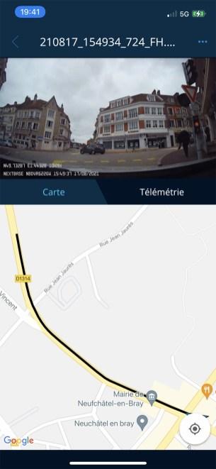 En plus de la vidéo, toutes les informations GPS, dont le trajet sont enregistrées // Source : Frandroid - Yazid Amer