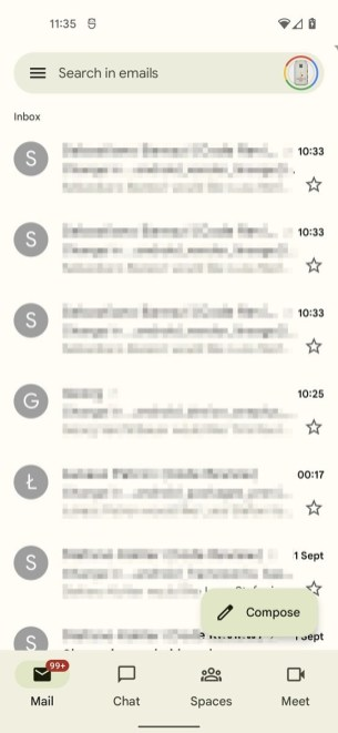 Gmail en version Material You