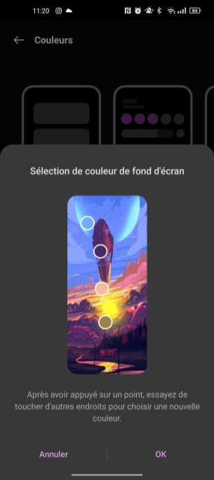 ColorOS adopte les couleurs du fond d'écran 2/3