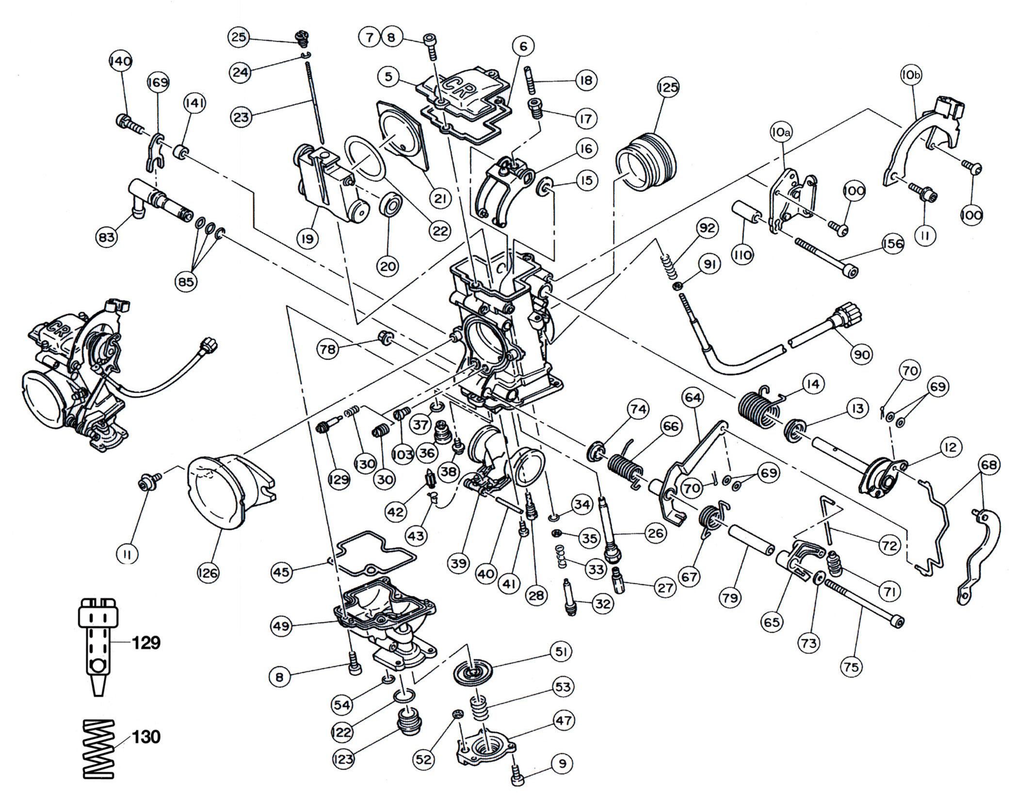 EXPLODED VIEW, PARTS DIAGRAM: single Keihin FCR racing 28