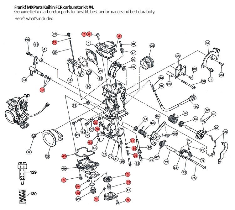 Genuine Keihin FCR carburetor rebuild kit #4 KTM 520 540