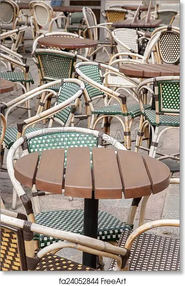parisian cafe chairs patio rocking chair free art print of and table paris france