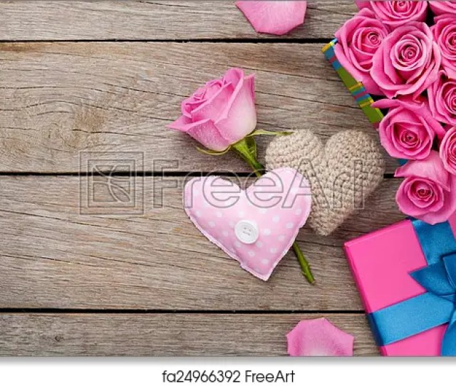 Free Art Print Of Valentines Day Background With Gift Box Full Of Pink Roses And H