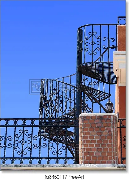 Free Art Print Of Wrought Iron Spiral Staircase Worm Eye View Of | Wrought Iron Spiral Staircase | Old | Plant Stand | Stair Case | Transitional | Narrow