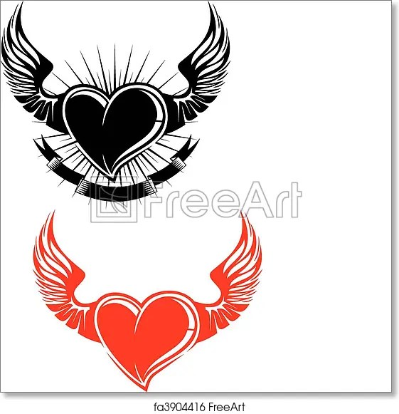 Free Art Print Of Heart With Wings Heart With Wings Tattoo Symbol Isolated On White Freeart Fa3904416
