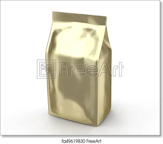 Pearl white coffee bean bag mockup, blank foil bag template in 3d rendering; Free Art Print Of Golden Coffee Bean Bag Mockup Golden Coffee Bean Bag Mockup Blank Foil Bag Template In 3d Rendering Freeart Fa49619830