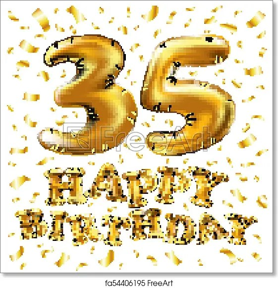 free art print of 35th birthday celebration with gold balloons and colorful confetti glitters 3d illustration design for your greeting card birthday