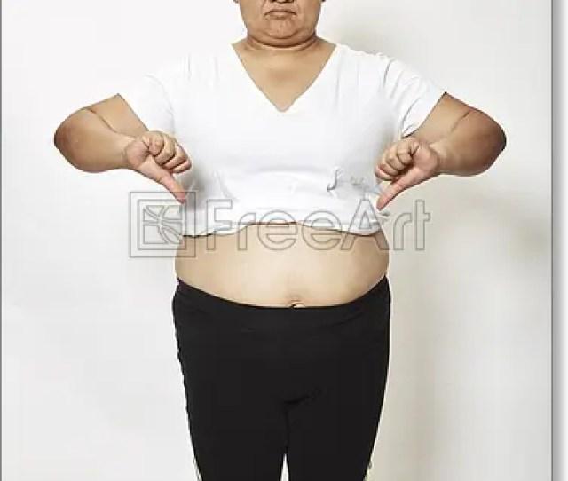 Free Art Print Of Asian Fat Woman Measuring