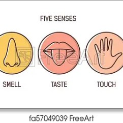 Five Senses Diagram 2010 Mini Cooper Fuse Free Art Print Of Bundle 5 Hearing Smell Taste Touch Vision Set Human Sensory Organs Drawn With Outlines Inside Colorful Circles