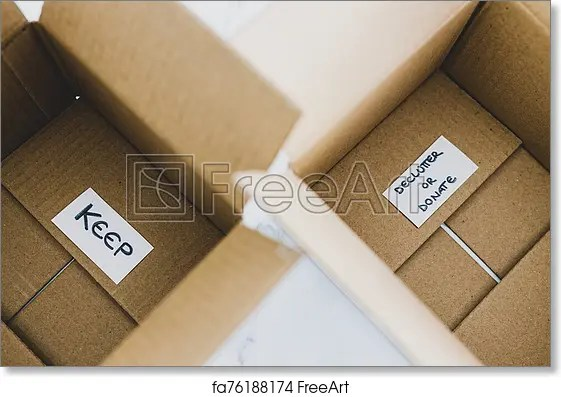 free art print of decluttering concept storage boxes to sort between objects to keep and those to declutter or donate with labels