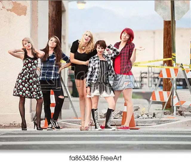 Free Art Print Of A Group Of Attractive Teen Punk Girls Pose For The Camera