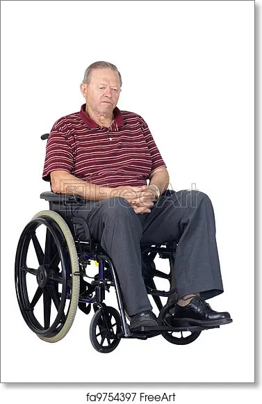 wheelchair man bedroom chair price free art print of sad senior in or depressed a looking down studio shot isolated over white background