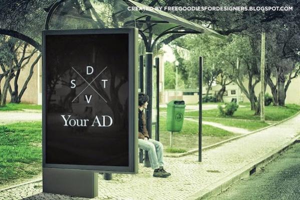 Free PSD Bus Stop Billboard Ad Mockup