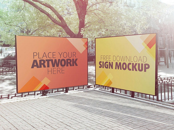 Free PSD Outdoor Sign Mockup