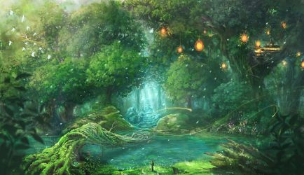 magical forest wallpapers vector source