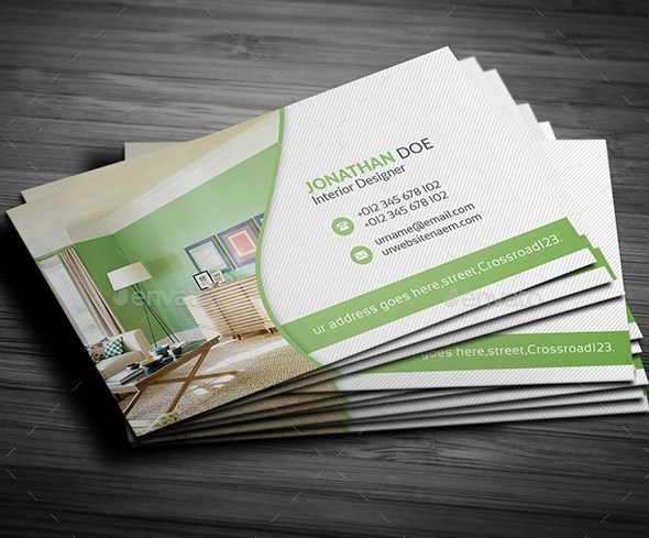 12 Awesome Interior Design Business Card Templates  Ms Word PSD AI
