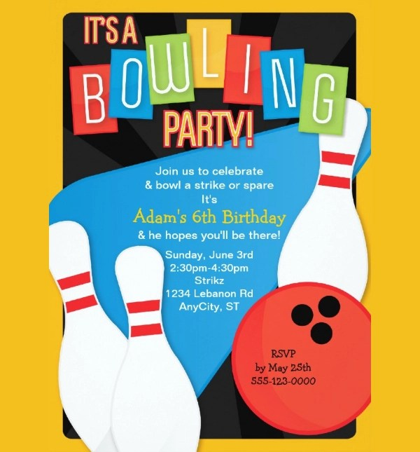 bowling party invitation designs in psd