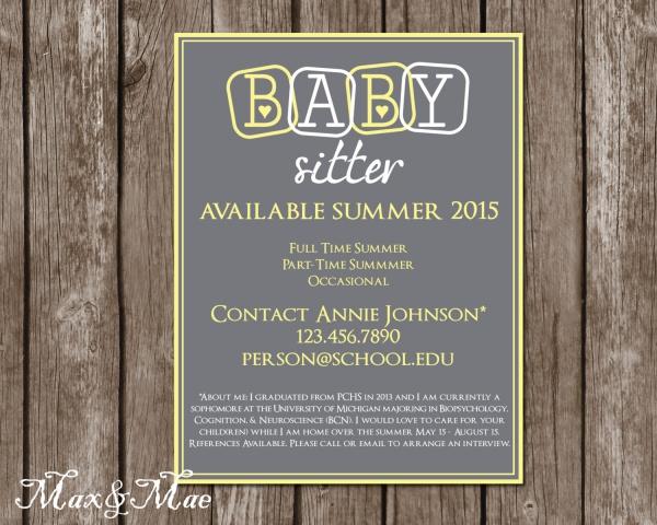 babysitting flyer template free