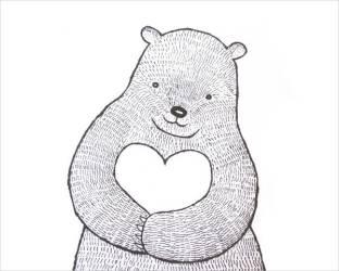 heart drawing cute bear illustration drawings print woodland rustic simple nursery bunny ink mikaart decor wall