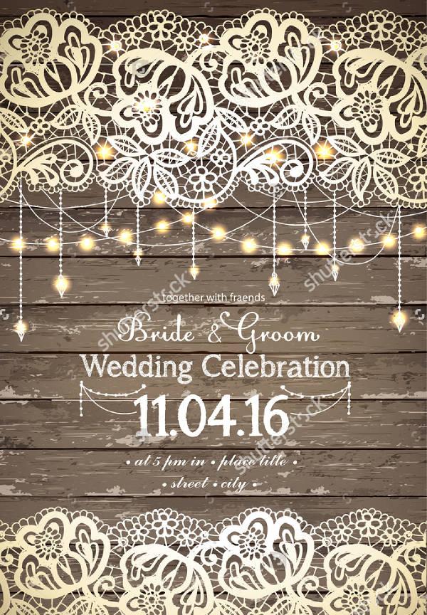 13 Elegant Rustic Wedding Invitations  Word AI PSD