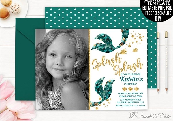 mermaid party invitation designs in