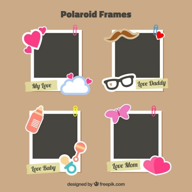 5 Polaroid Photo Frames For Fathers Day Mockups