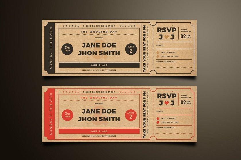 Retro Style Wedding Invitation Movie Ticket