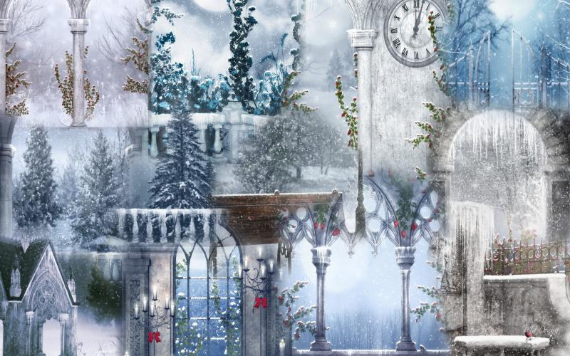 3d Sky Wallpapers Free Download Hd Winter Lights Collage Wallpaper Download Free 84585