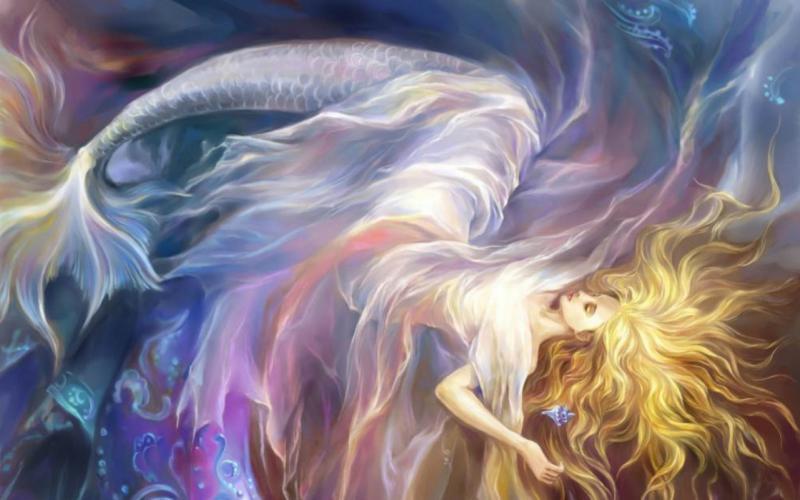 Anime Wallpaper Goddess Girl With Black And White Hair Hd Sleeping Mermaid Wallpaper Download Free 75387