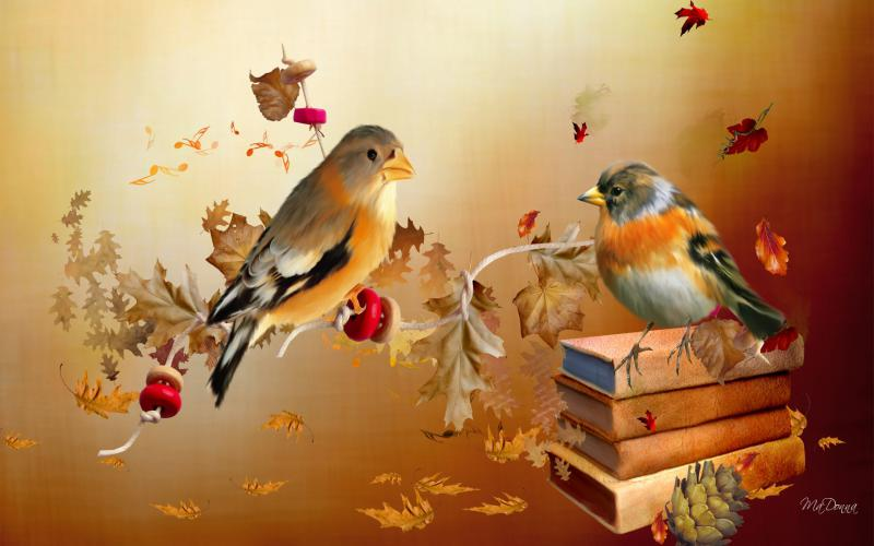 Computer Wallpaper Fall Leaves Hd Autumn Birds Wallpaper Download Free 121608