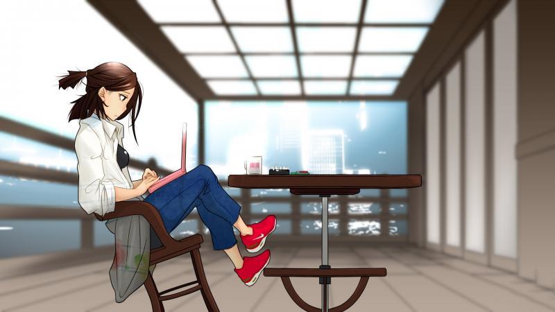 Animated Cute Girl Wallpaper Hd Hd Sad Girl Sitting At The Desk Wallpaper Download Free
