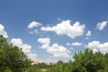 Free Sky Clouds Trees And Houses Stock