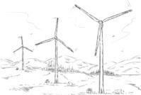 Vector Silhouette of Wind Generators OR Wind Vector WI