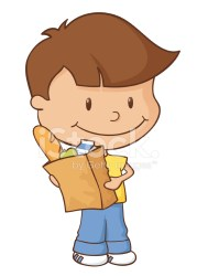boy shopping grocery bag groceries little holding paper premium child freeimages vector