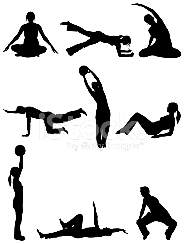 Men and Women Body Sculpting Doing Yoga Pilates Stock