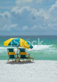 Beach Chairs AT The Ocean stock photos