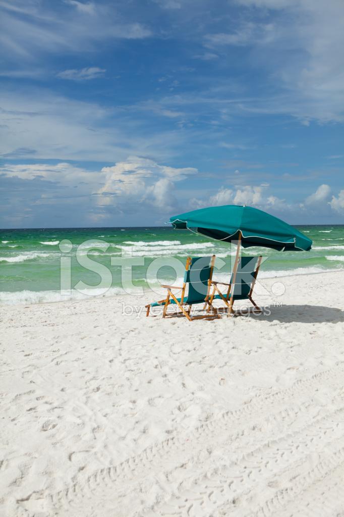 Beach Chairs AT The Ocean Stock Photos