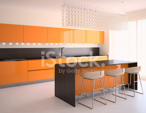 orange kitchen chairs cast iron sinks for sale 现代橙色厨房照片素材 freeimages com premium stock photo of 现代橙色厨房