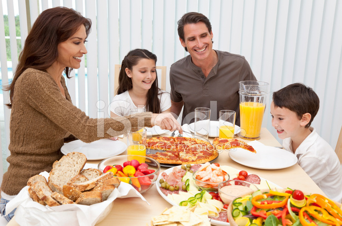 Parents Children Family Eating Pizza  Salad AT Dining