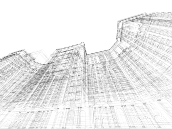 3d Sketch Architecture Planning Construction Frame Stock