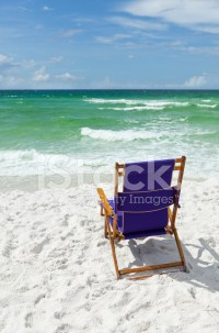 Beach Chair AT The Ocean stock photos