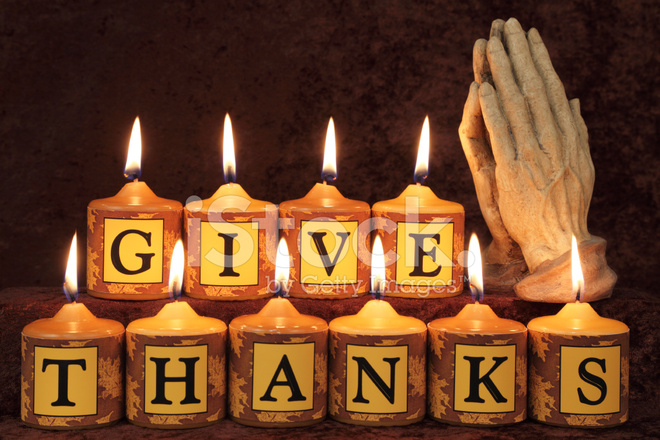 Fall Pics With Scripture Wallpaper Give Thanks Candles With Praying Hands Stock Photos