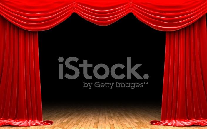 ouverture de rideau de velours rouge